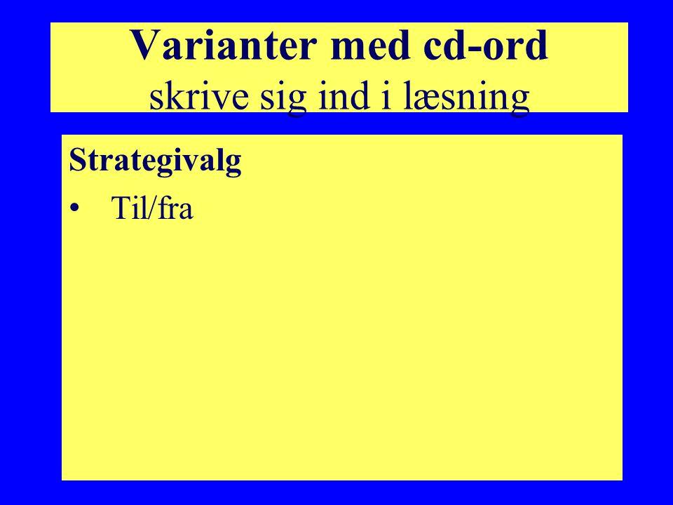 Varianter med cd-ord skrive sig ind i læsning