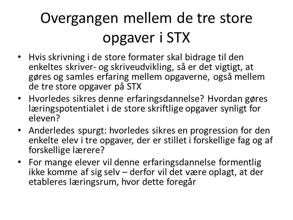 Overgangen mellem de tre store opgaver i STX