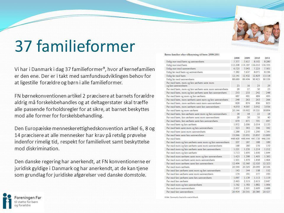 37 familieformer Vi har i Danmark i dag 37 familieformer⁹, hvor af kernefamilien er den ene.