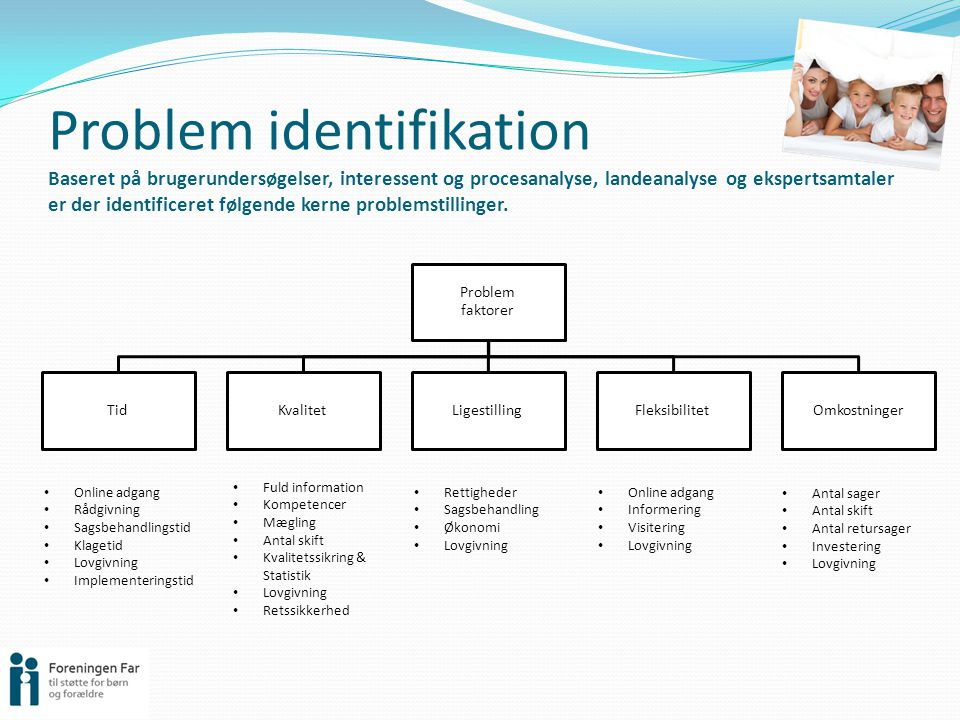 Problem identifikation Baseret på brugerundersøgelser, interessent og procesanalyse, landeanalyse og ekspertsamtaler er der identificeret følgende kerne problemstillinger.