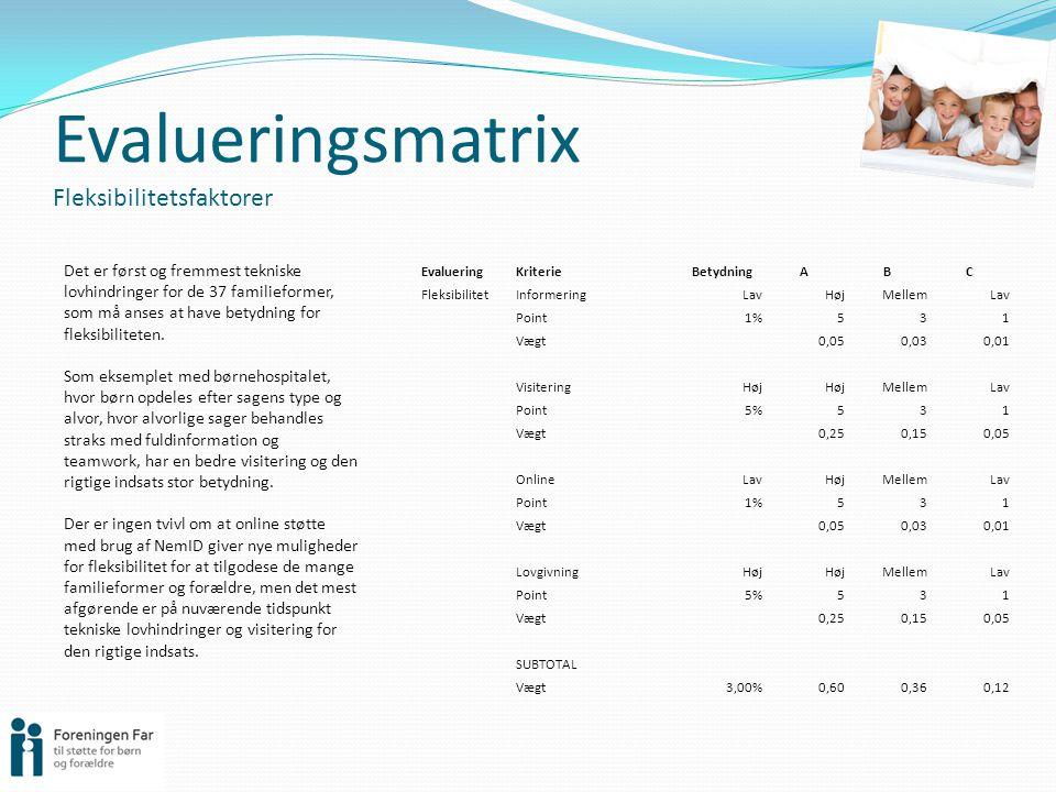 Evalueringsmatrix Fleksibilitetsfaktorer