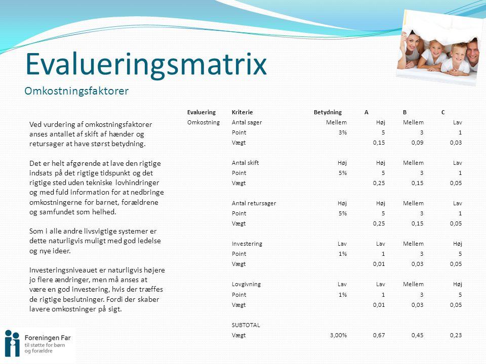 Evalueringsmatrix Omkostningsfaktorer