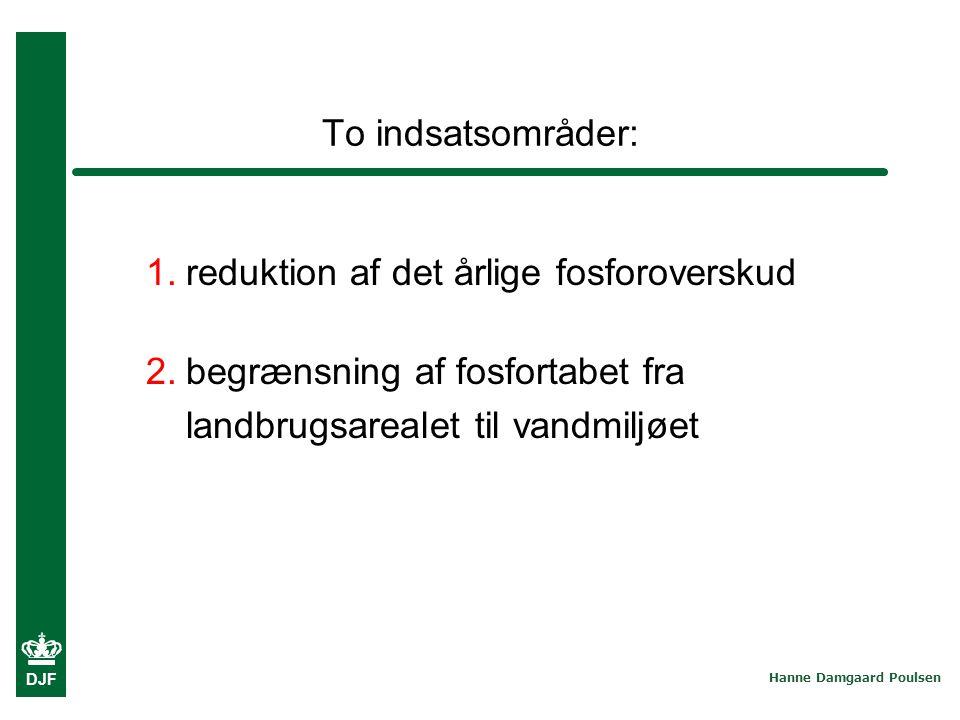 To indsatsområder: reduktion af det årlige fosforoverskud.