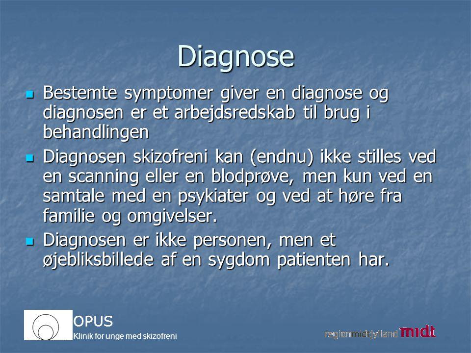 Diagnose Bestemte symptomer giver en diagnose og diagnosen er et arbejdsredskab til brug i behandlingen.
