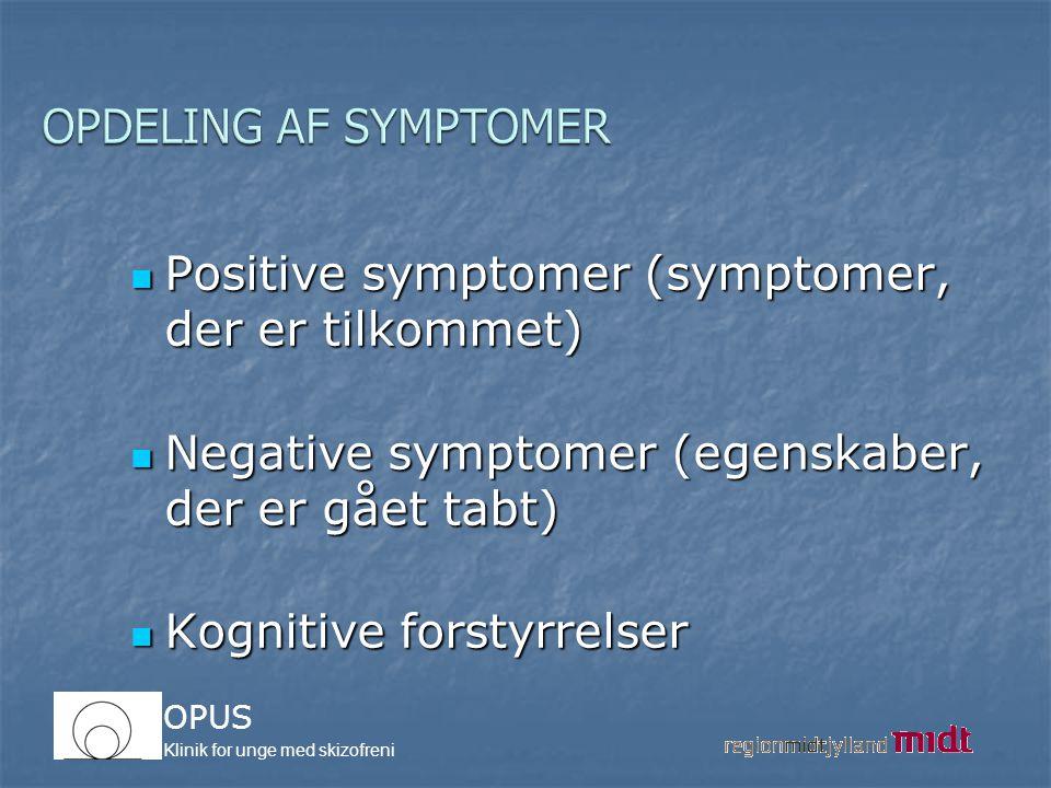 OPDELING AF SYMPTOMER Positive symptomer (symptomer, der er tilkommet) Negative symptomer (egenskaber, der er gået tabt)