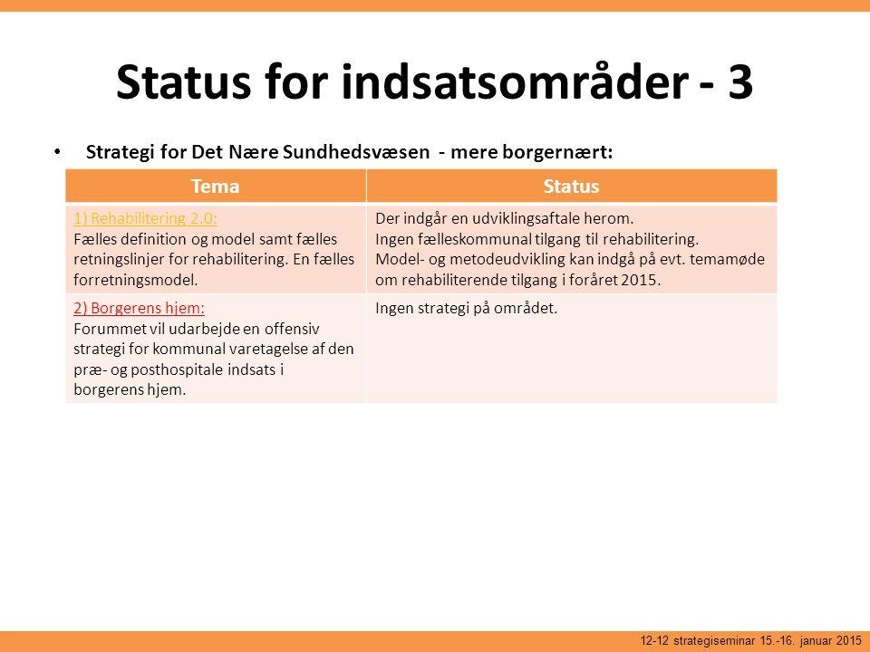 Status for indsatsområder - 3