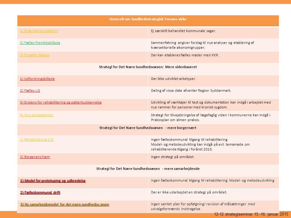 Generelt om Sundhedsstrategisk Forums virke 1) Brændende platform