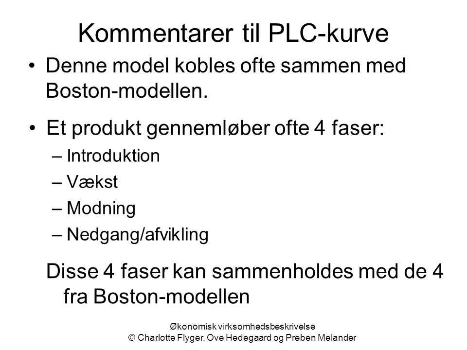Kommentarer til PLC-kurve