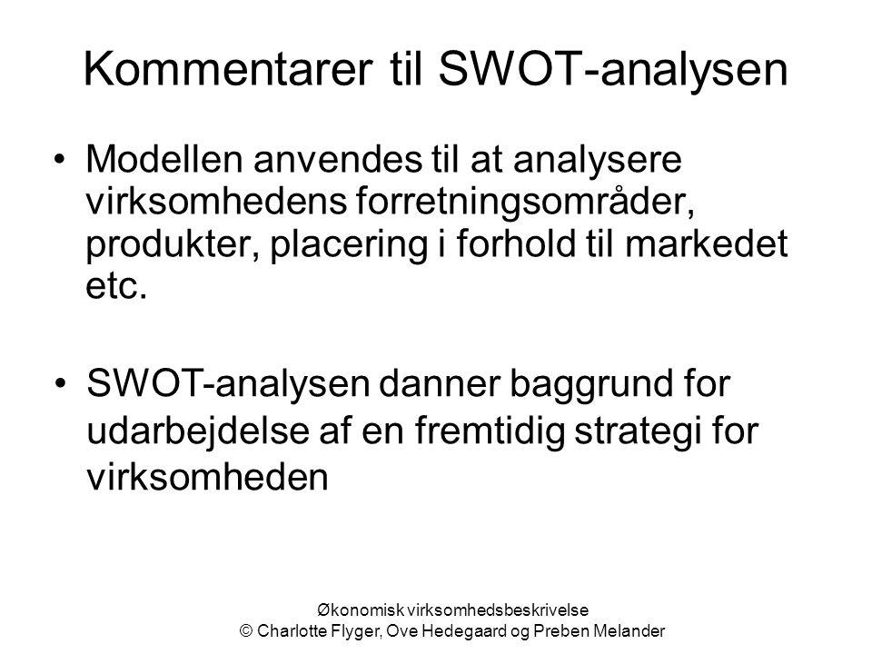 Kommentarer til SWOT-analysen