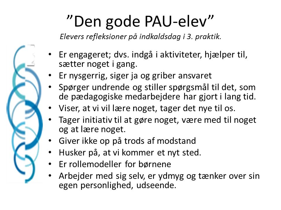 Den gode PAU-elev Elevers refleksioner på indkaldsdag i 3. praktik.