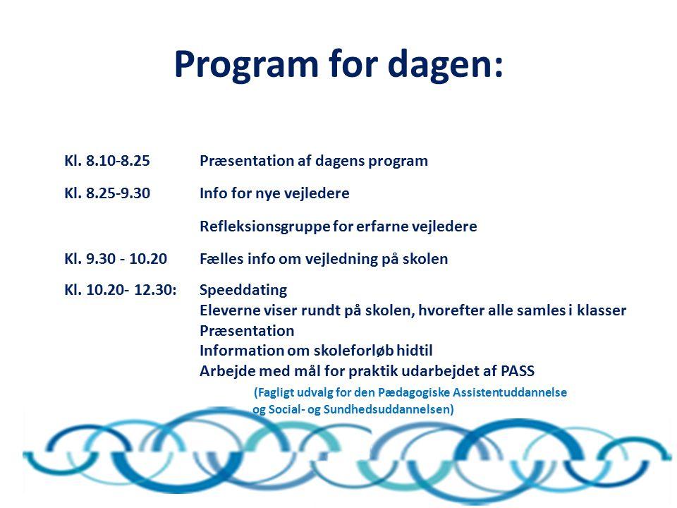 Program for dagen: Kl. 8.10-8.25 Præsentation af dagens program