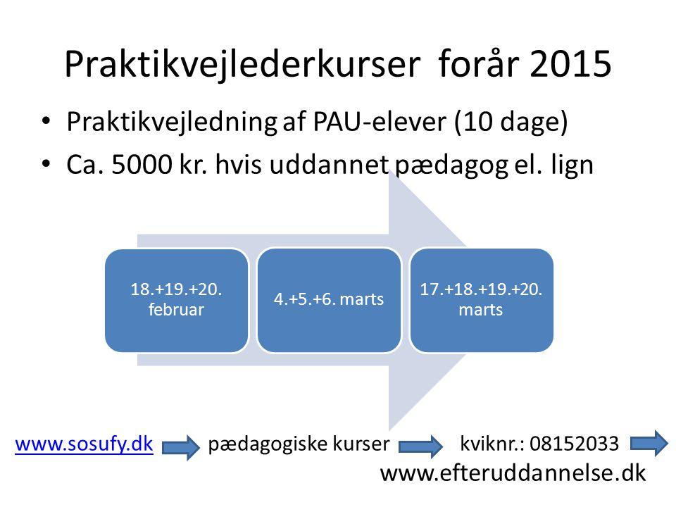 Praktikvejlederkurser forår 2015