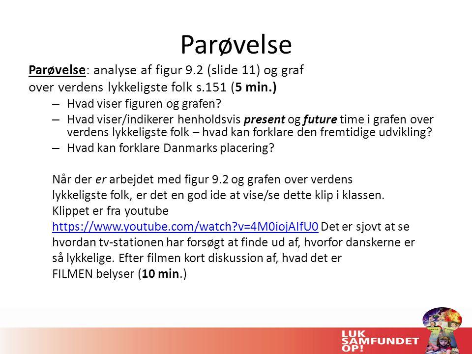 Parøvelse Parøvelse: analyse af figur 9.2 (slide 11) og graf