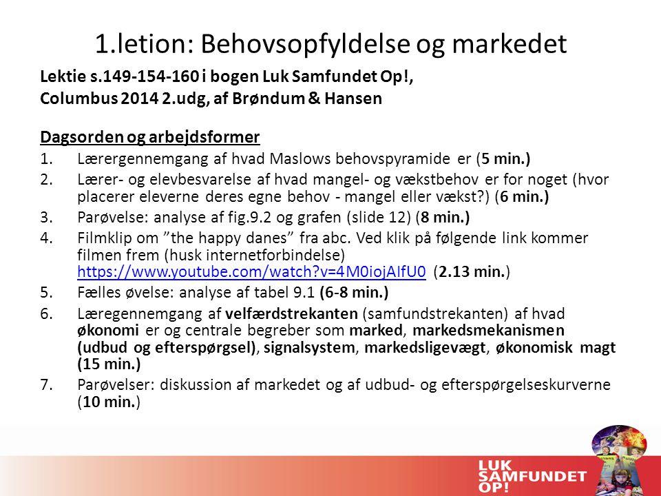1.letion: Behovsopfyldelse og markedet