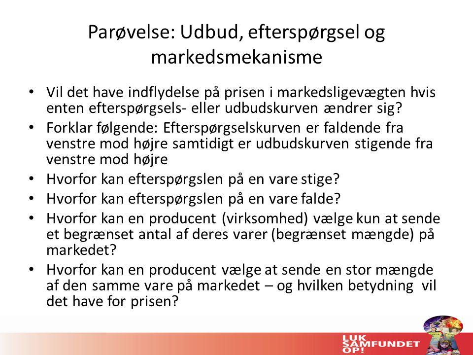 Parøvelse: Udbud, efterspørgsel og markedsmekanisme