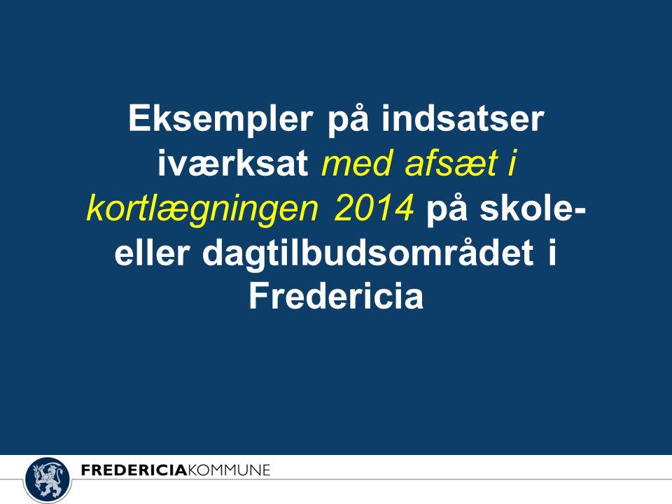 Eksempler på indsatser iværksat med afsæt i kortlægningen 2014 på skole- eller dagtilbudsområdet i Fredericia