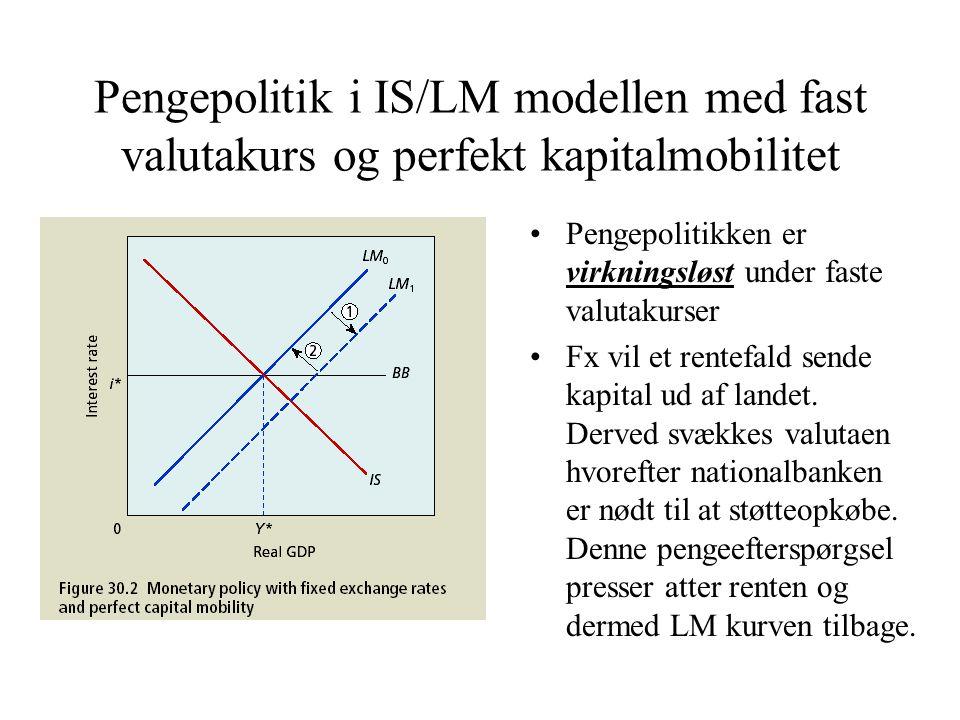 Pengepolitik i IS/LM modellen med fast valutakurs og perfekt kapitalmobilitet