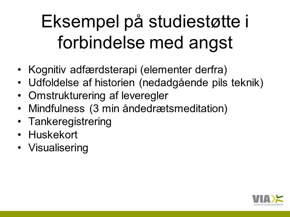 Eksempel på studiestøtte i forbindelse med angst