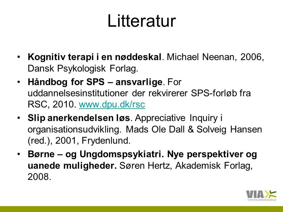Litteratur Kognitiv terapi i en nøddeskal. Michael Neenan, 2006, Dansk Psykologisk Forlag.