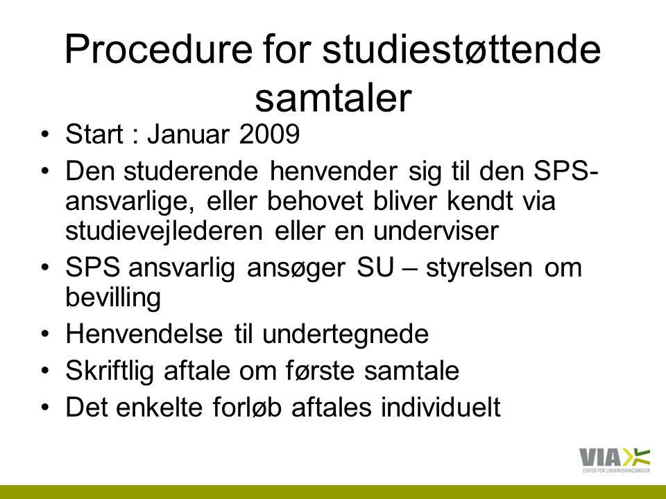 Procedure for studiestøttende samtaler
