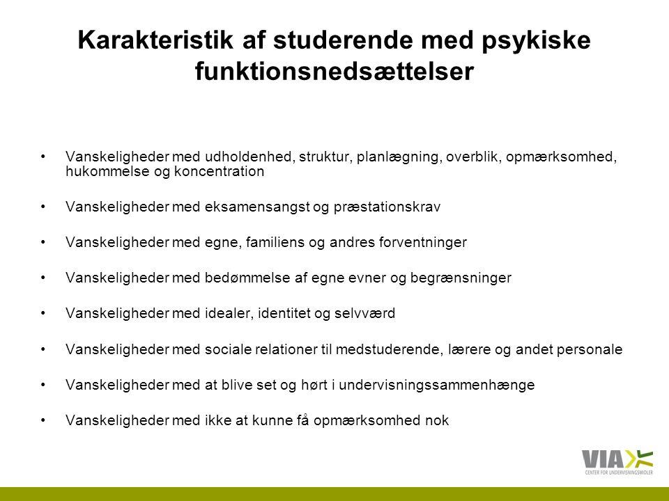 Karakteristik af studerende med psykiske funktionsnedsættelser