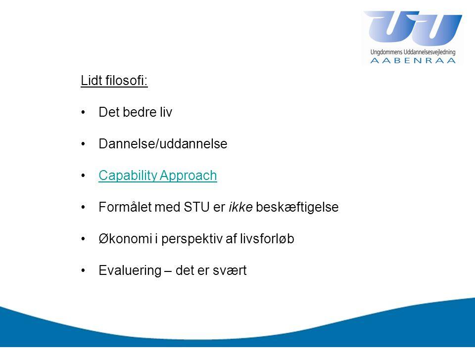 Lidt filosofi: Det bedre liv. Dannelse/uddannelse. Capability Approach. Formålet med STU er ikke beskæftigelse.