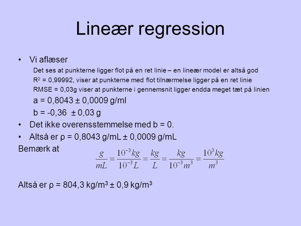 Lineær regression Vi aflæser a = 0,8043 ± 0,0009 g/ml