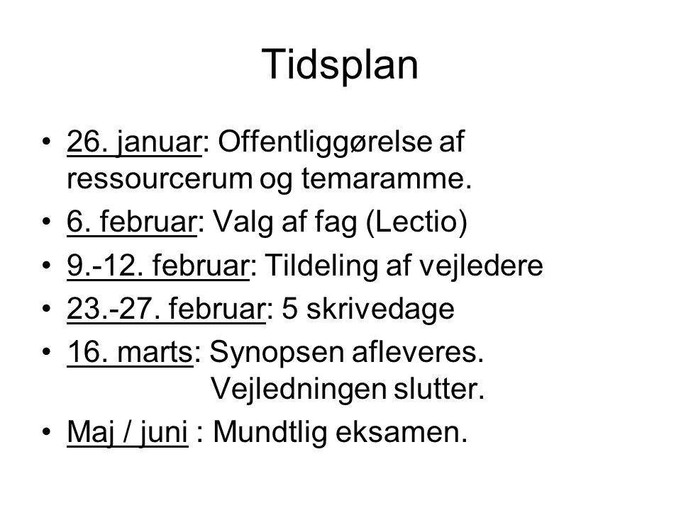 Tidsplan 26. januar: Offentliggørelse af ressourcerum og temaramme.