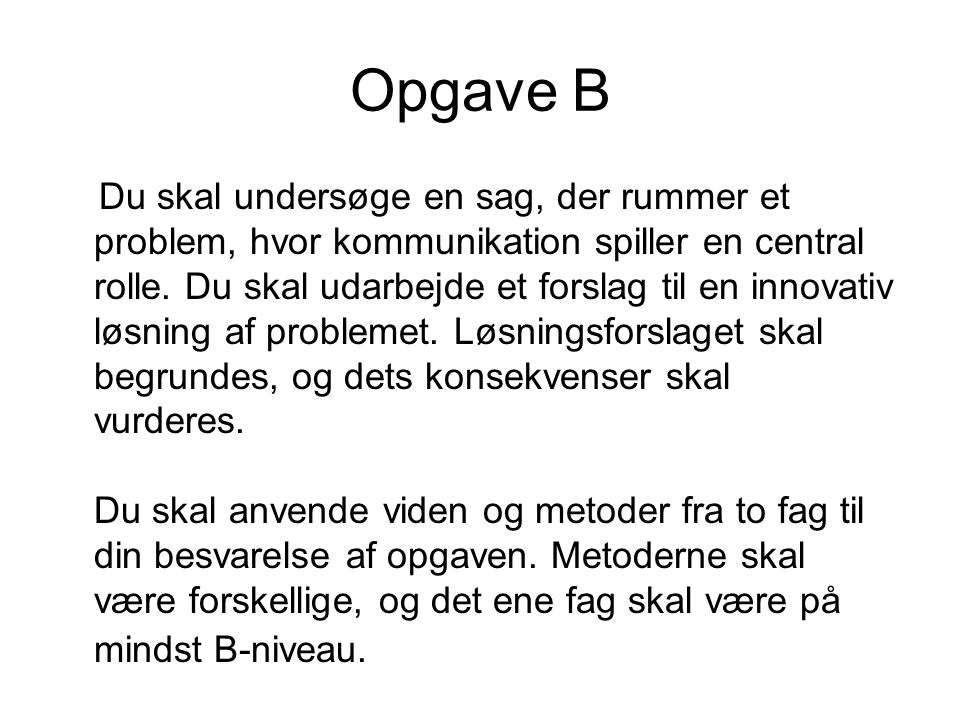 Opgave B
