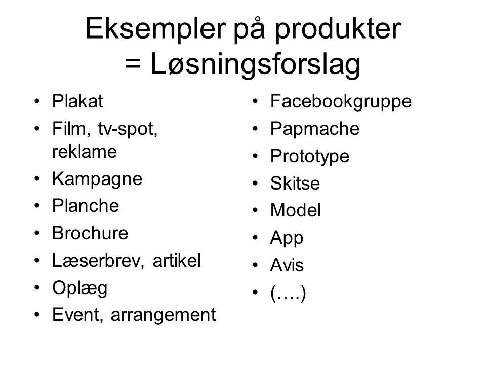 Eksempler på produkter = Løsningsforslag