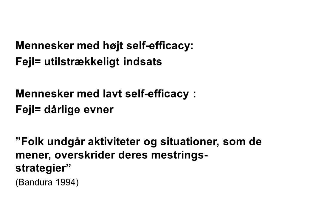 Mennesker med højt self-efficacy: Fejl= utilstrækkeligt indsats
