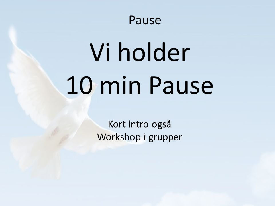 Pause Vi holder 10 min Pause Kort intro også Workshop i grupper