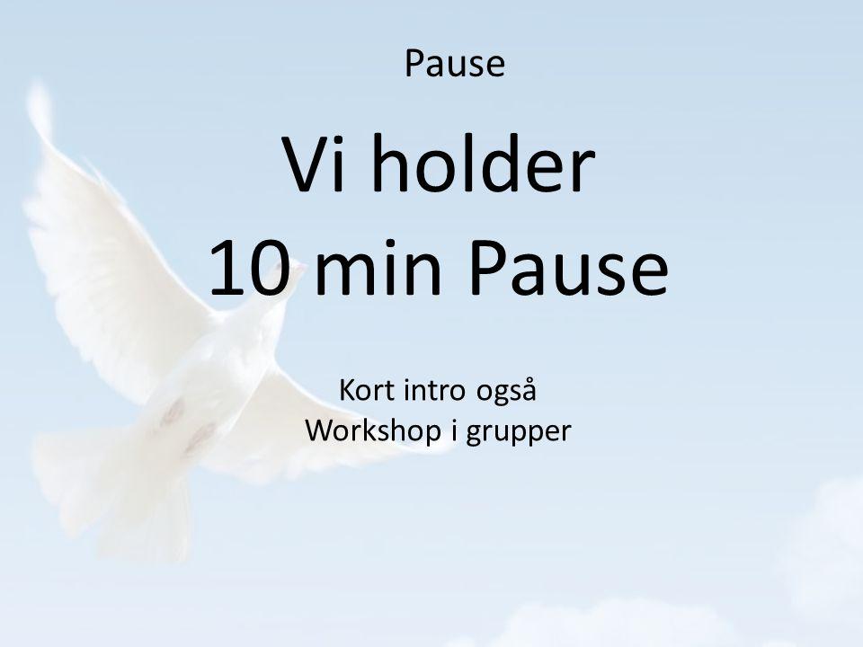 Pause Vi holder 10 min Pause Kort intro også Workshop i grupper