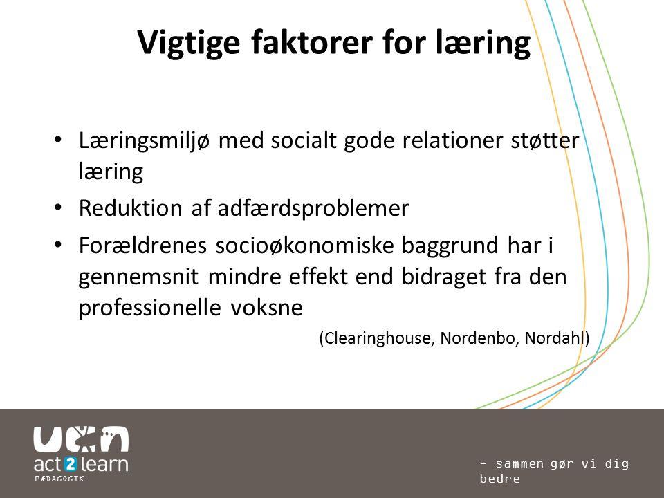 Vigtige faktorer for læring
