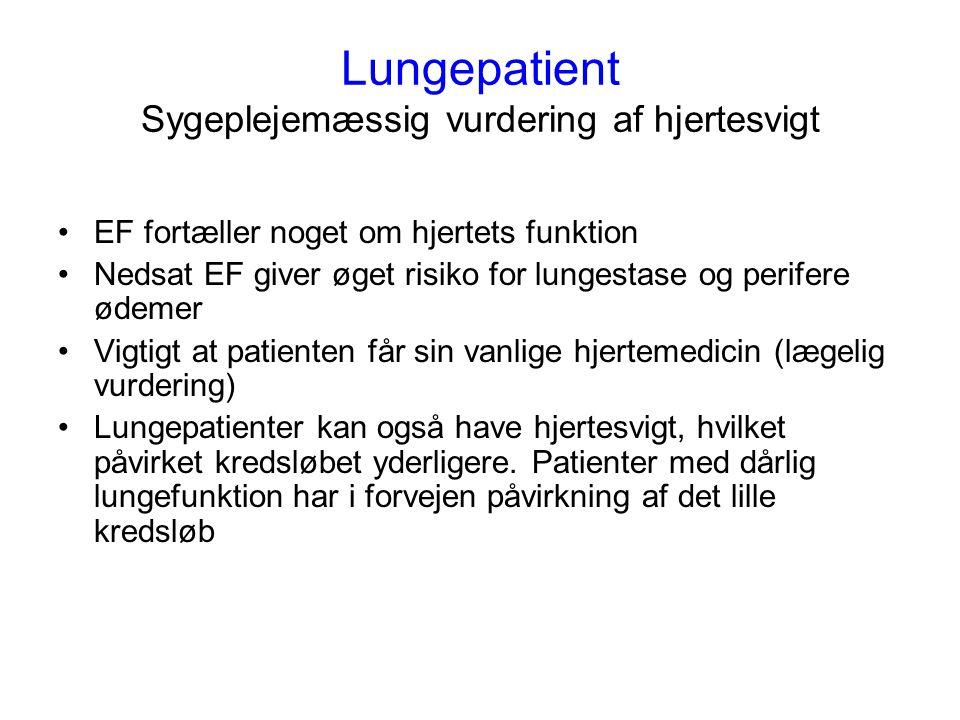 Lungepatient Sygeplejemæssig vurdering af hjertesvigt