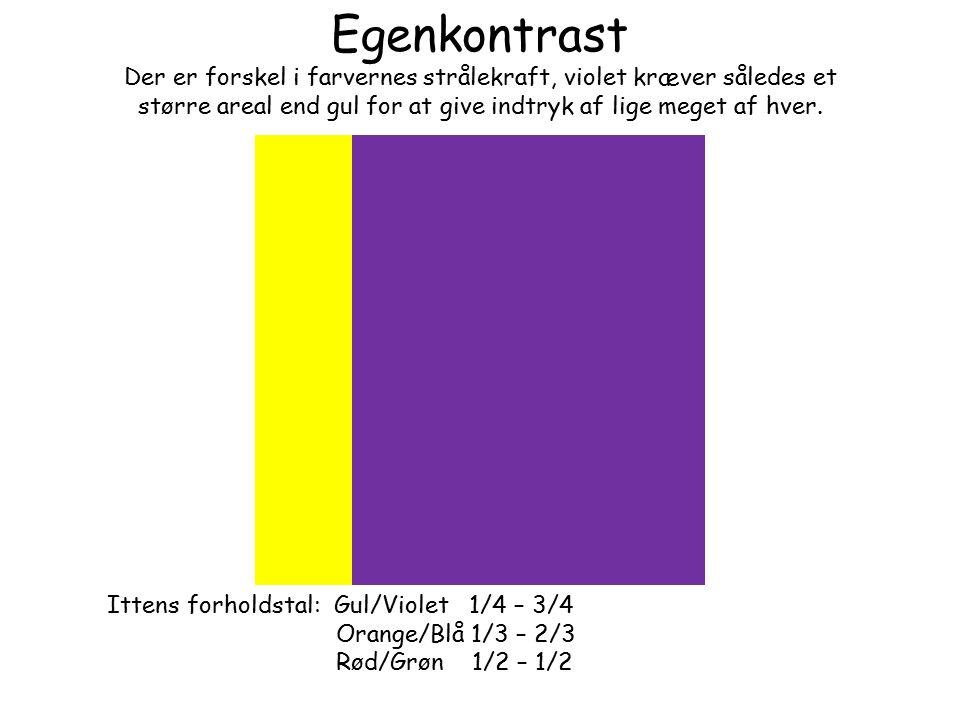 Egenkontrast Der er forskel i farvernes strålekraft, violet kræver således et større areal end gul for at give indtryk af lige meget af hver.
