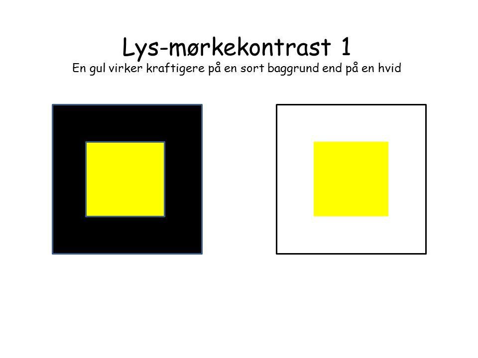 En gul virker kraftigere på en sort baggrund end på en hvid
