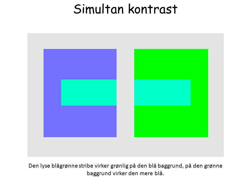Simultan kontrast Den lyse blågrønne stribe virker grønlig på den blå baggrund, på den grønne baggrund virker den mere blå.