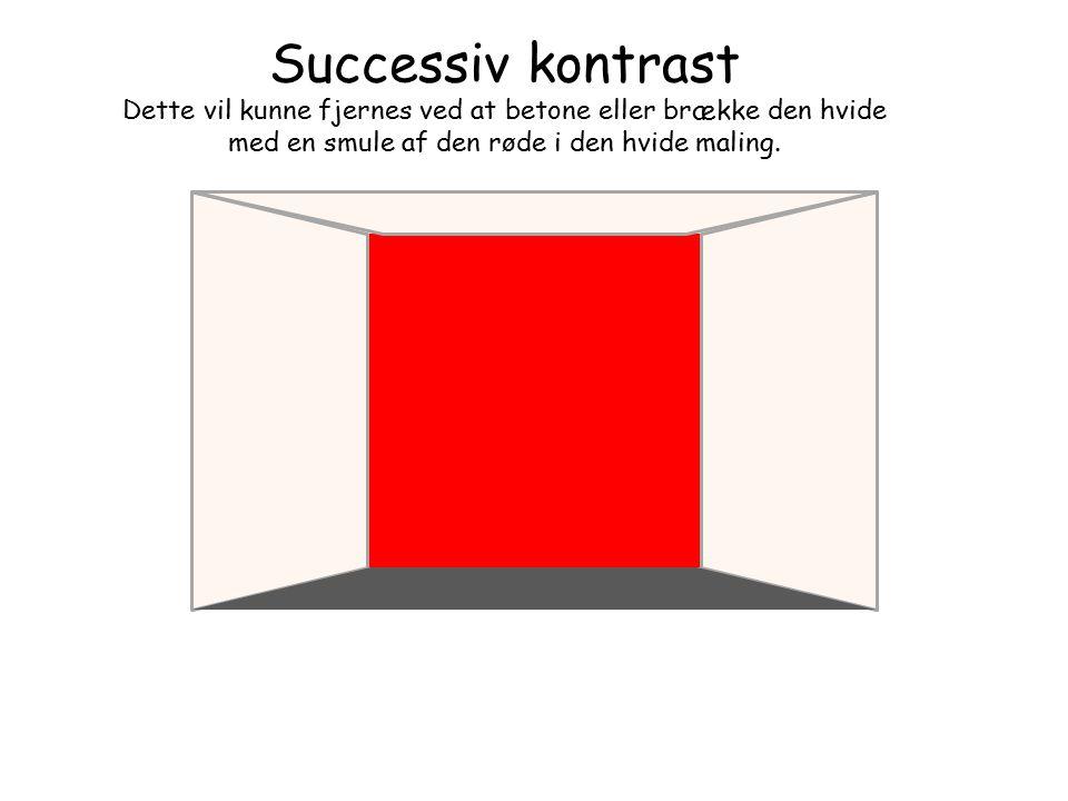 Successiv kontrast Dette vil kunne fjernes ved at betone eller brække den hvide med en smule af den røde i den hvide maling.