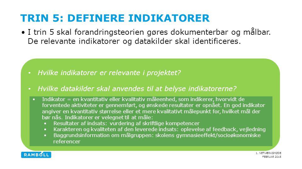 Trin 5: Definere indikatorer