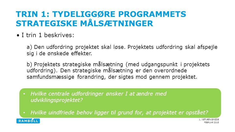 Trin 1: Tydeliggøre Programmets strategiske målsætninger