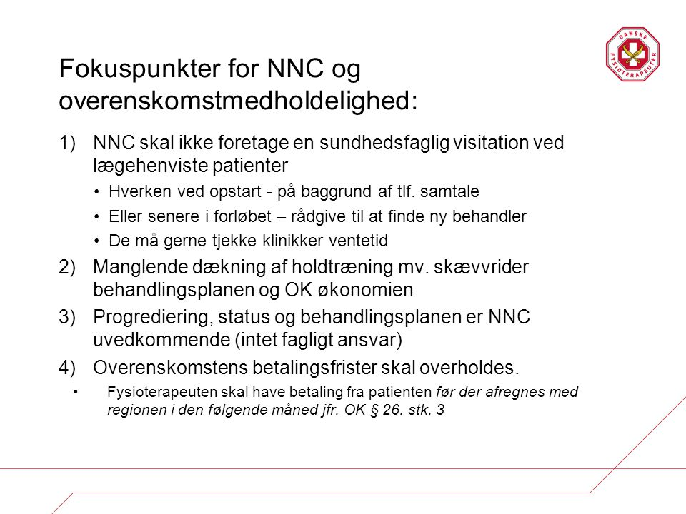 Fokuspunkter for NNC og overenskomstmedholdelighed: