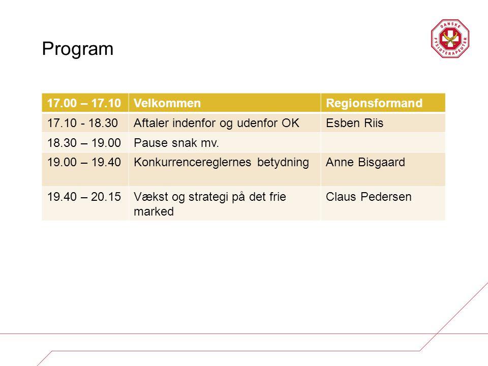 Program 17.00 – 17.10 Velkommen Regionsformand 17.10 - 18.30