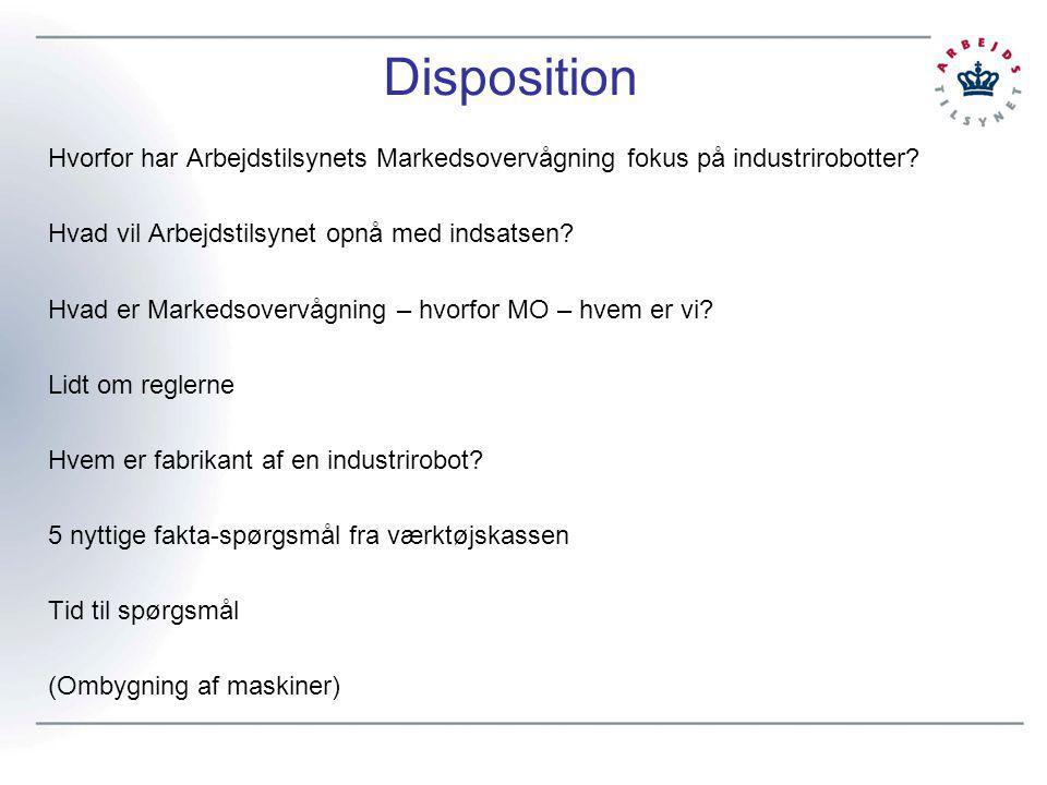Disposition Hvorfor har Arbejdstilsynets Markedsovervågning fokus på industrirobotter Hvad vil Arbejdstilsynet opnå med indsatsen