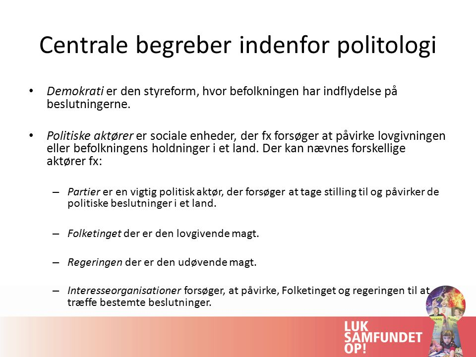 Centrale begreber indenfor politologi