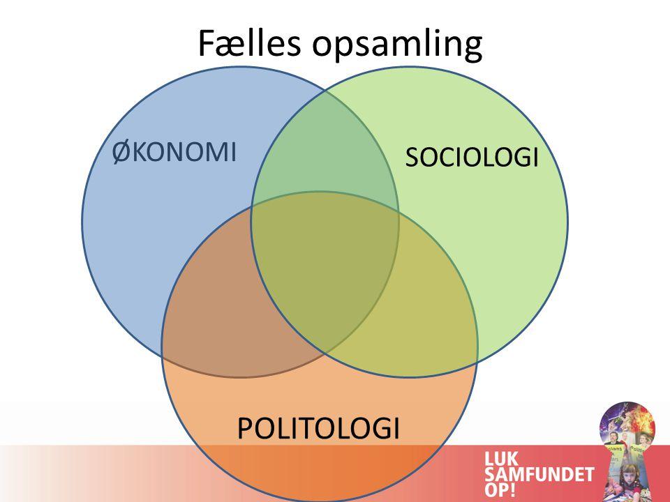 Fælles opsamling ØKONOMI SOCIOLOGI POLITOLOGI