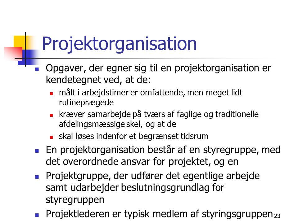Projektorganisation Opgaver, der egner sig til en projektorganisation er kendetegnet ved, at de: