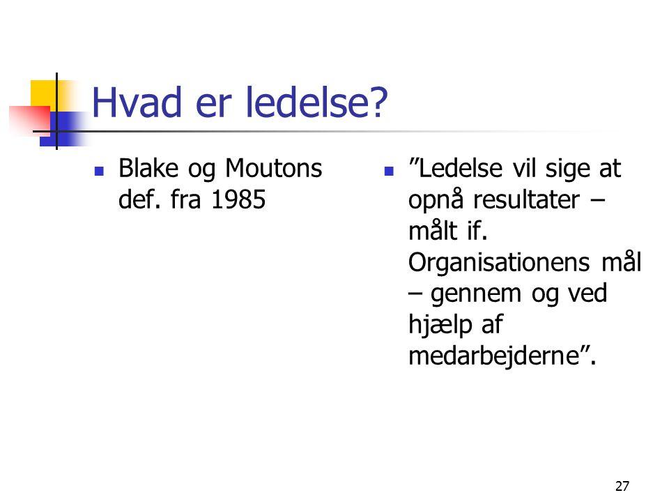 Hvad er ledelse Blake og Moutons def. fra 1985