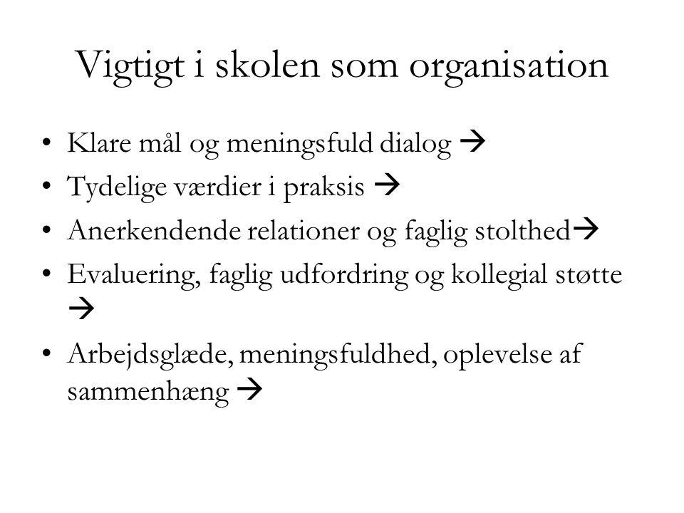 Vigtigt i skolen som organisation