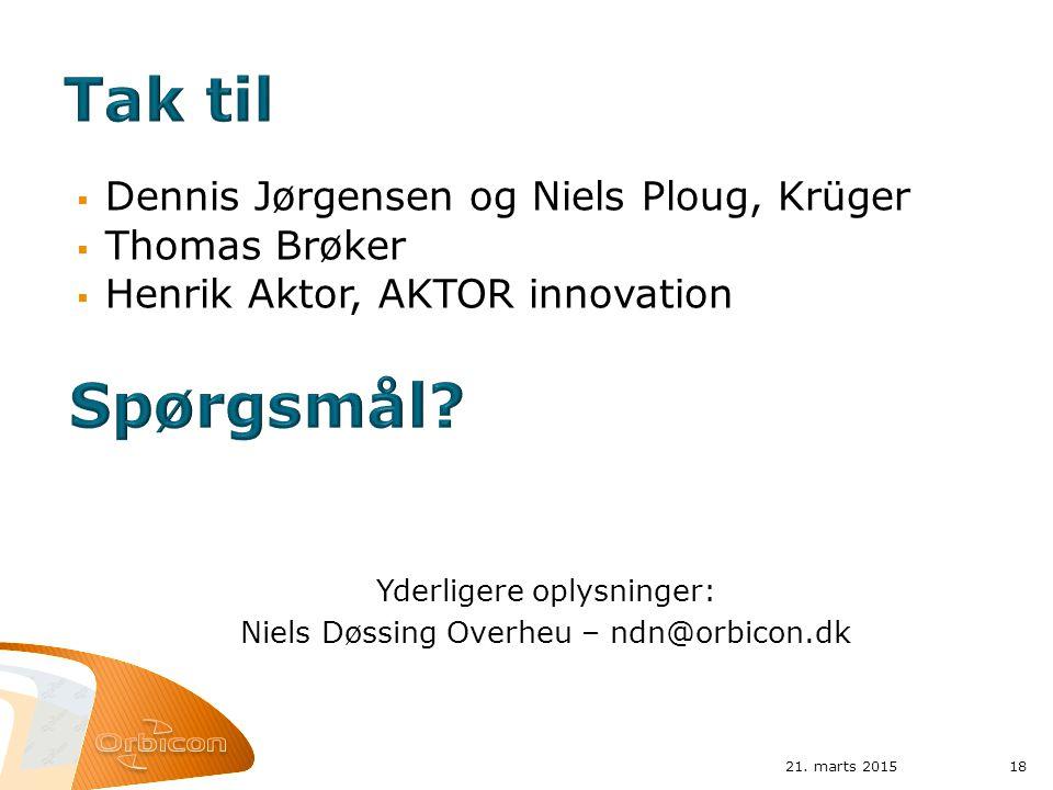 Tak til Spørgsmål Dennis Jørgensen og Niels Ploug, Krüger